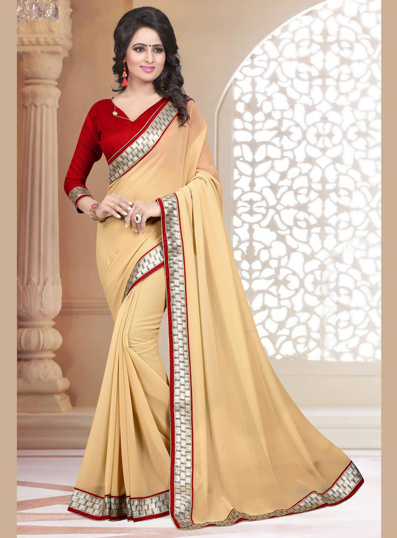 Beige Georgette Saree With Blouse 71878