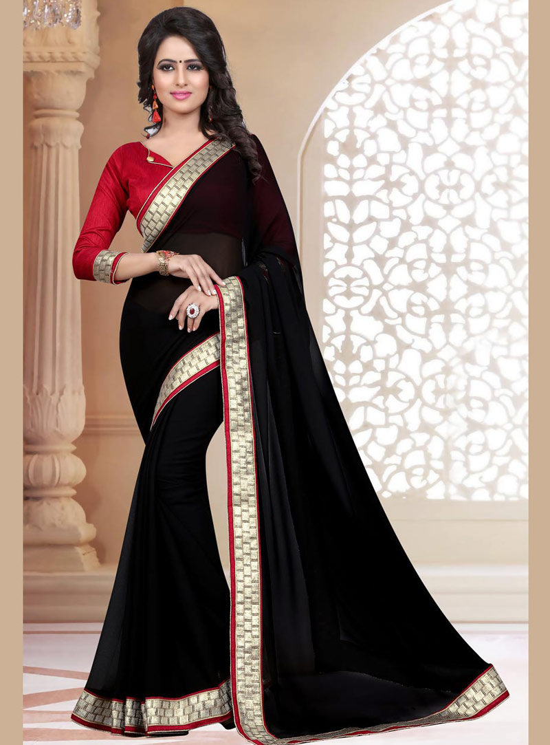 Black Georgette Saree With Blouse 71881