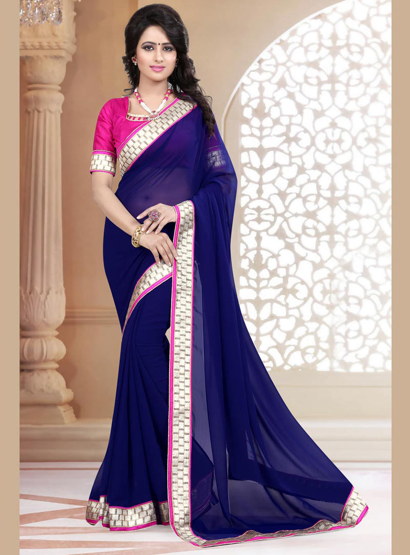Navy Blue Georgette Saree With Blouse 71884
