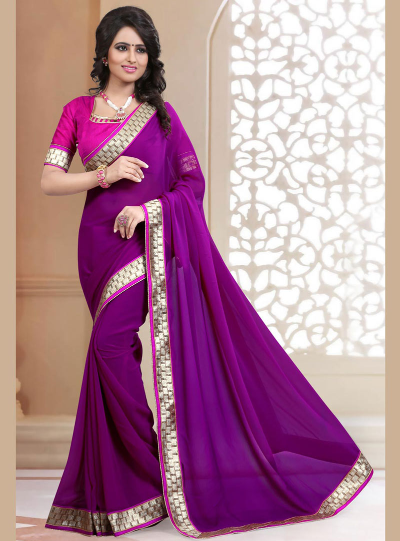 Purple Georgette Saree With Blouse 71885