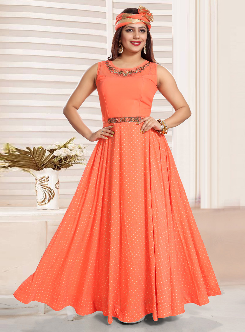 Orange Crepe Readymade Abaya Style Anarkali Suit 147203