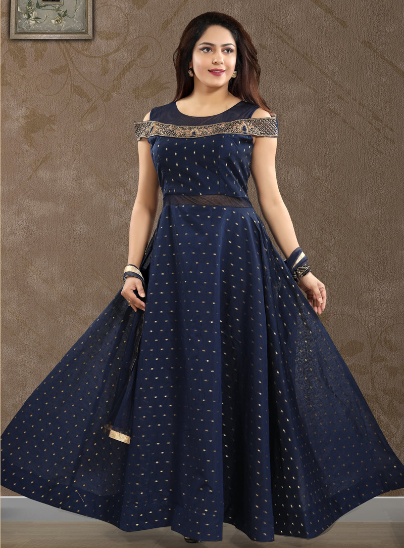 Navy Blue Crepe Readymade Long Anarkali Suit 147206