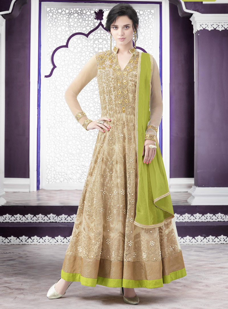 Beige Net Ankle Length Anarkali Suit 74184