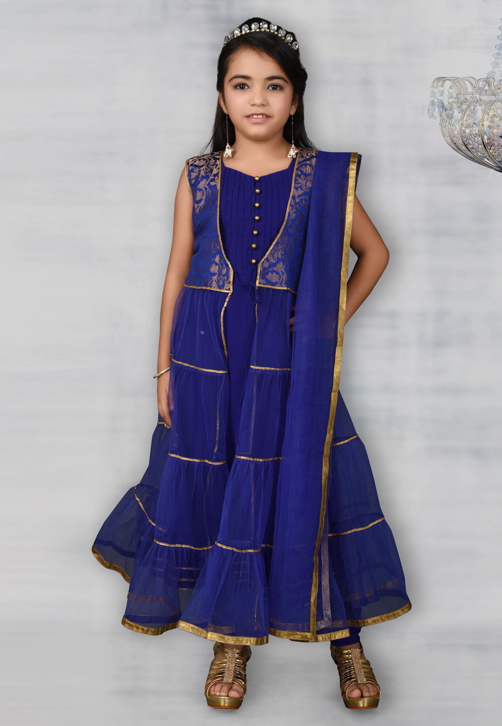 Blue Net Kids Salwar Suit 217115