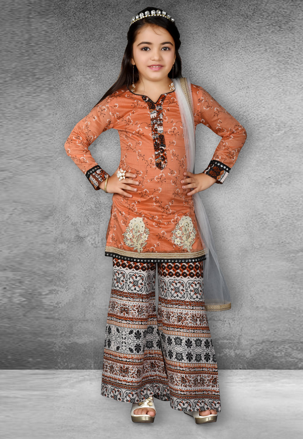 Orange Chanderi Silk Kids Palazzo Suit 217126