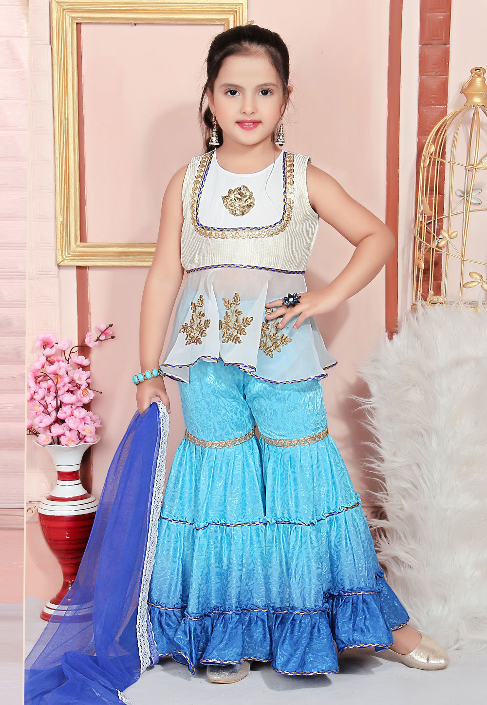 Off White Faux Georgette Kids Sharara Suit 217143