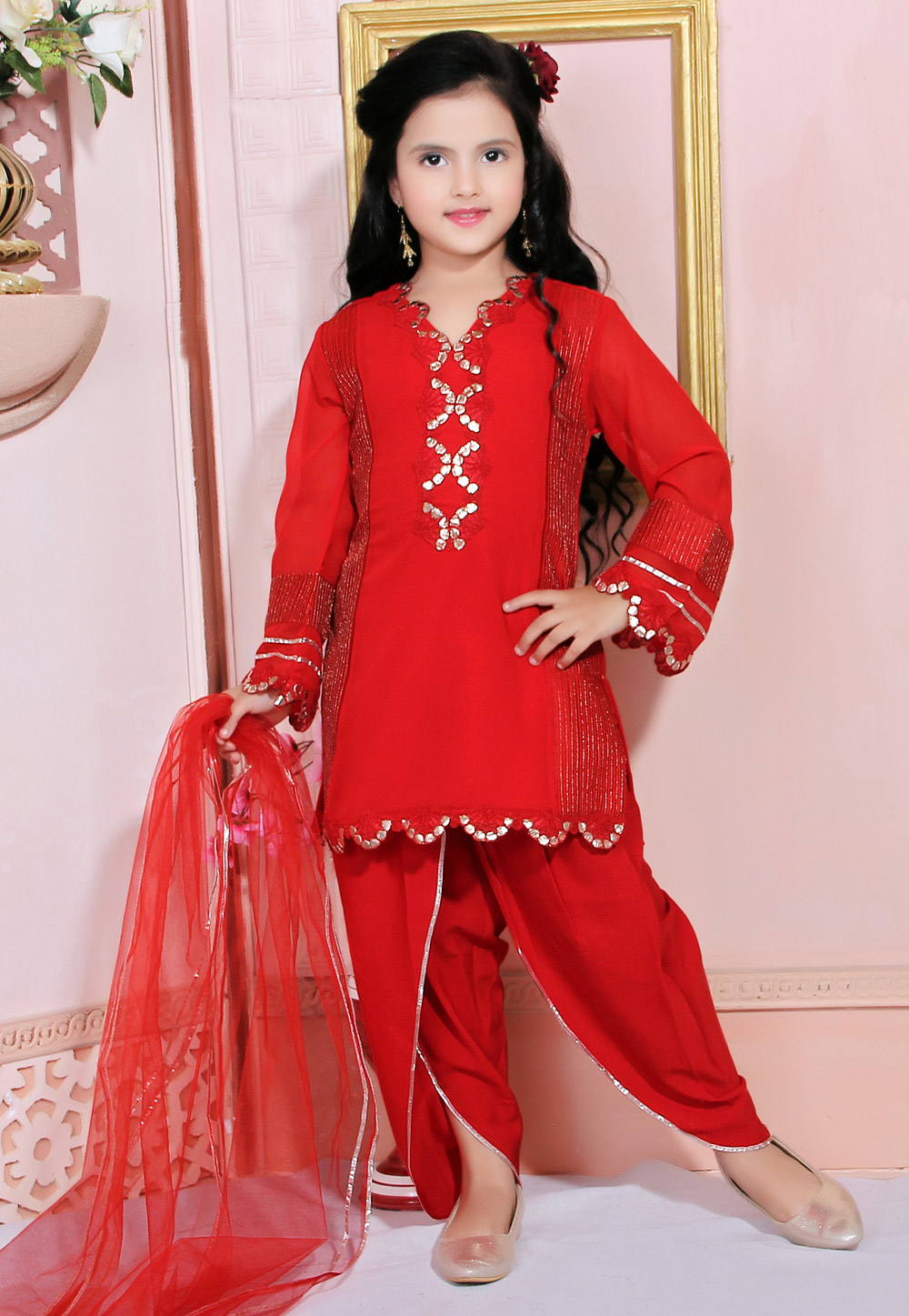 Red Faux Georgette Kids Dhoti Style Suit 217151
