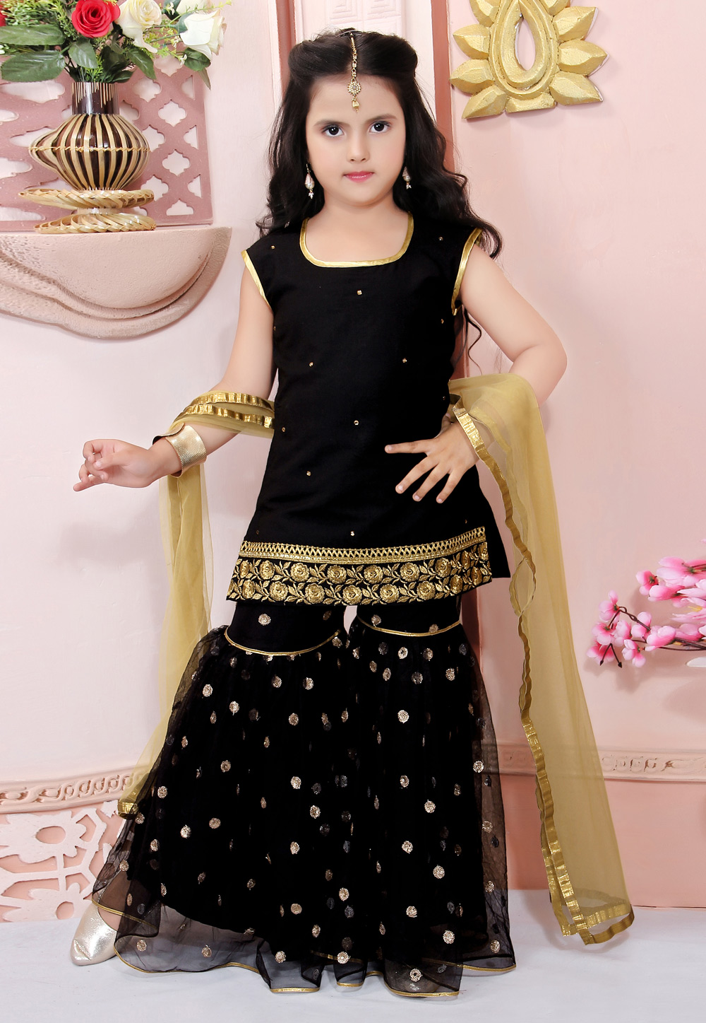 Black Cotton Silk Kids Sharara Suit 217156