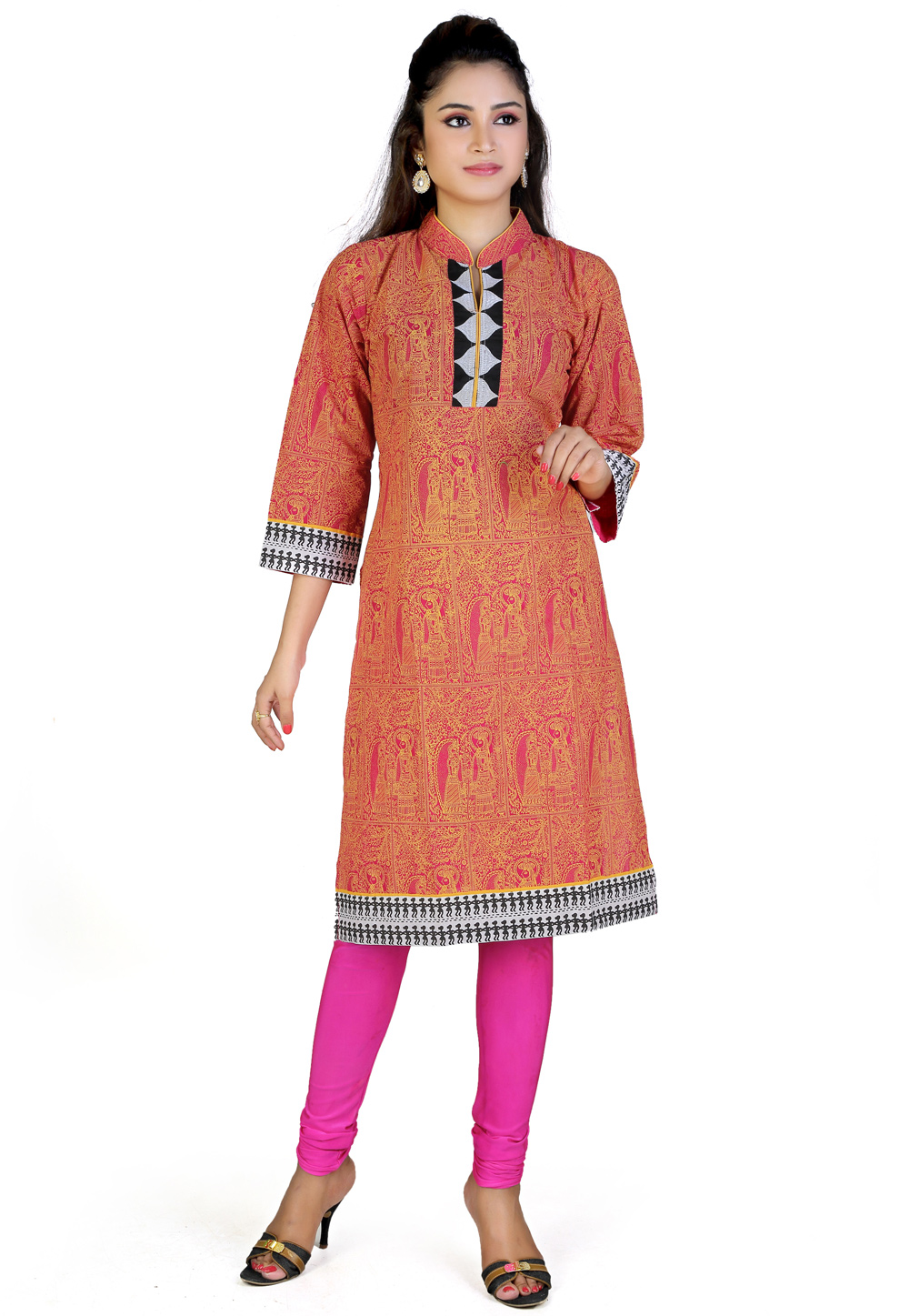 Pink Cotton Cambric Readymade Tunic 194170