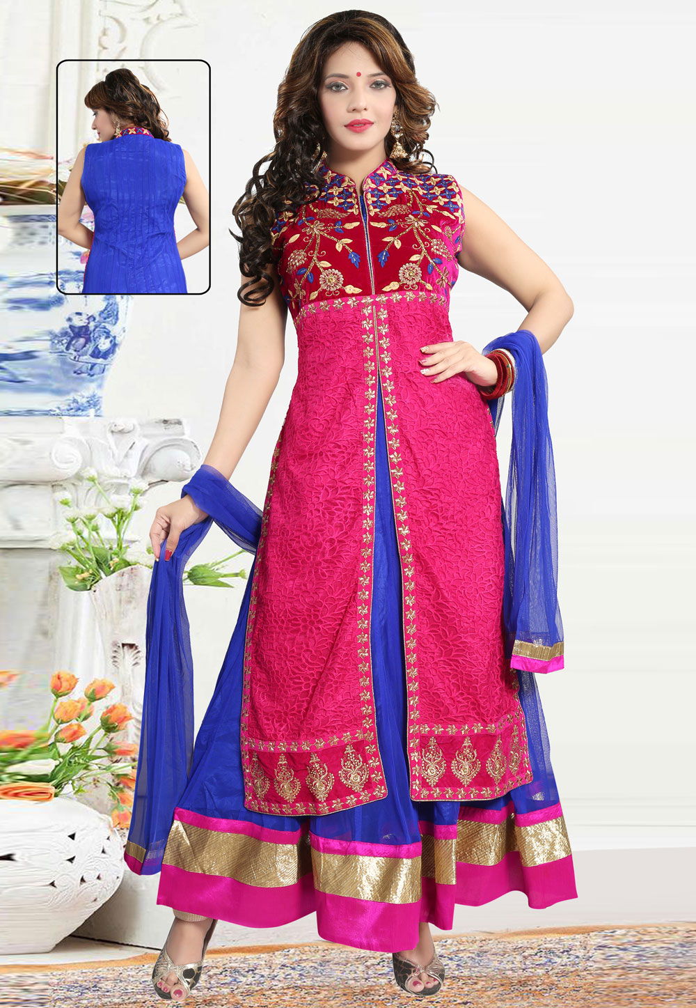 Magenta Net Readymade Long Anarkali Suit 194287