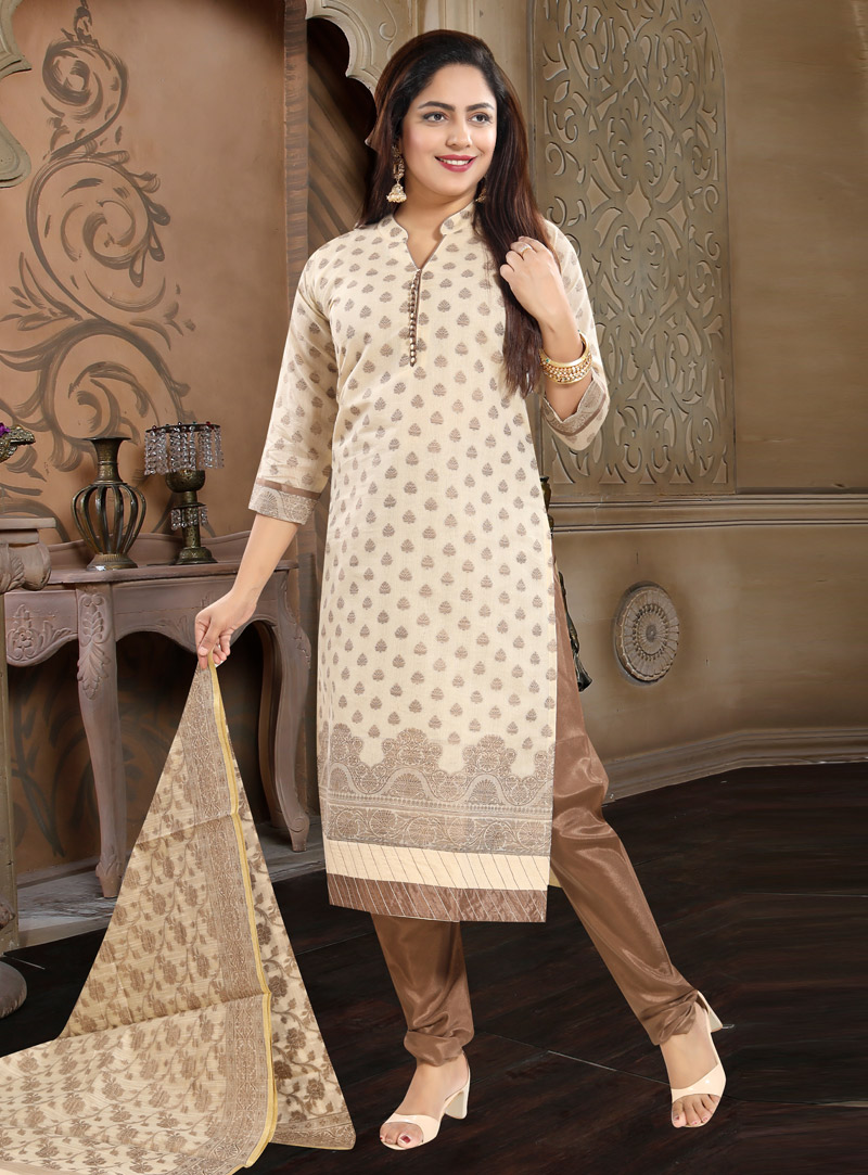 Beige Cotton Churidar Salwar Kameez 148158