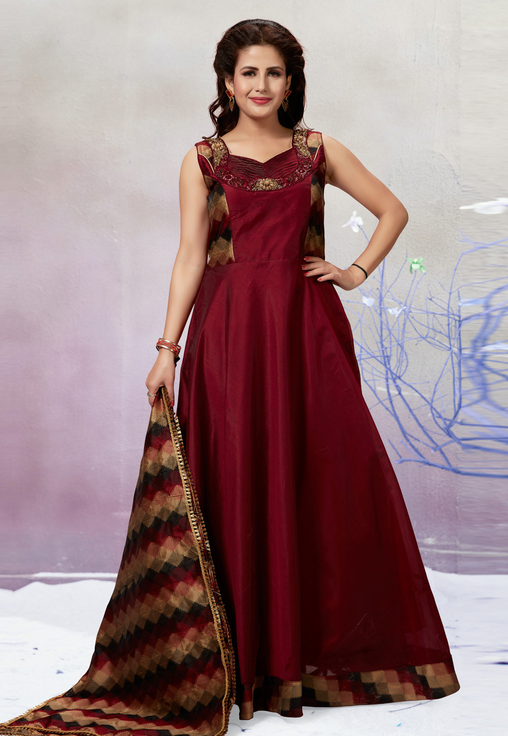 Maroon Chanderi Silk Readymade Floor Length Anarkali Suit 194211