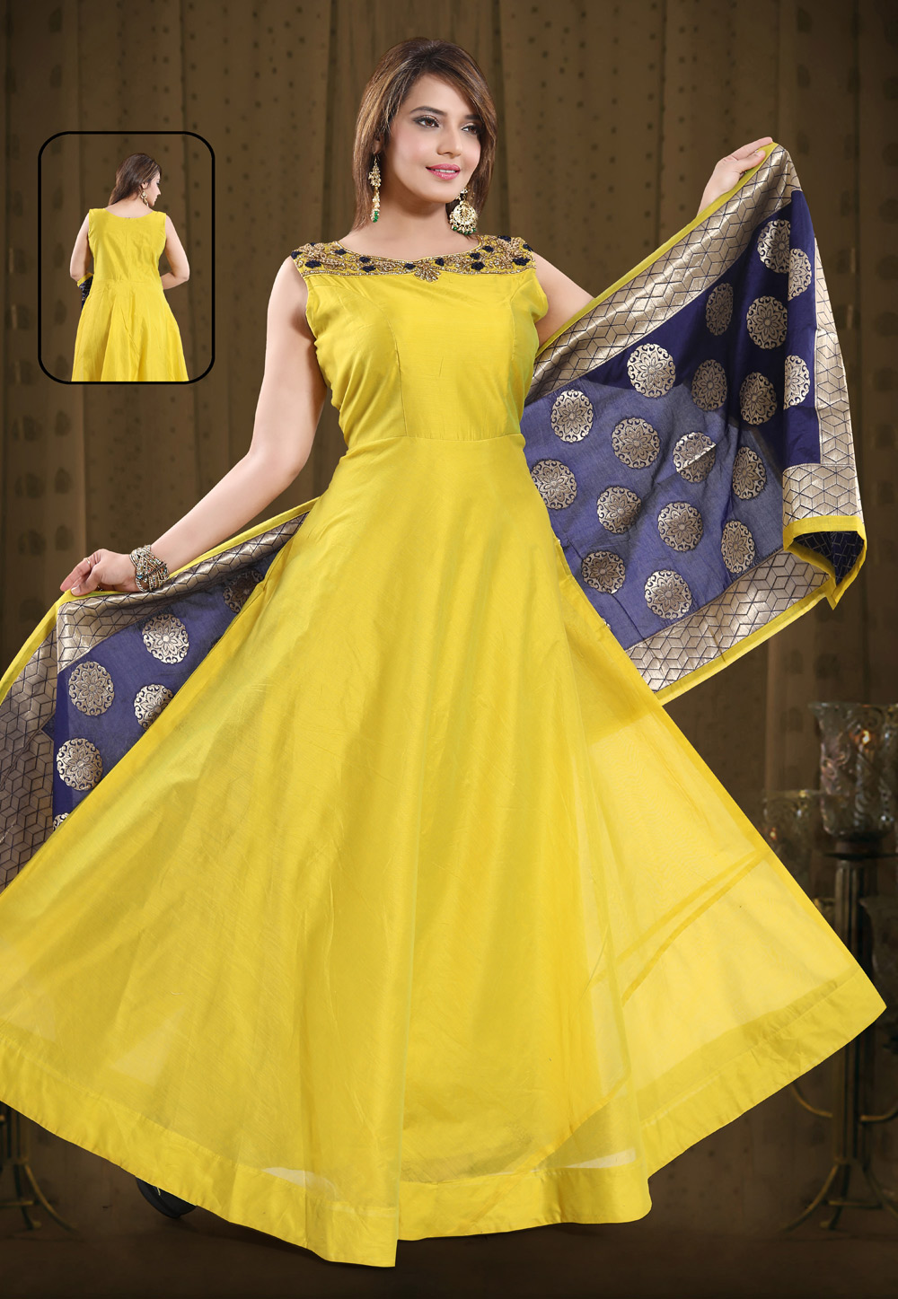 Yellow Chanderi Silk Readymade Floor Length Anarkali Suit 194216
