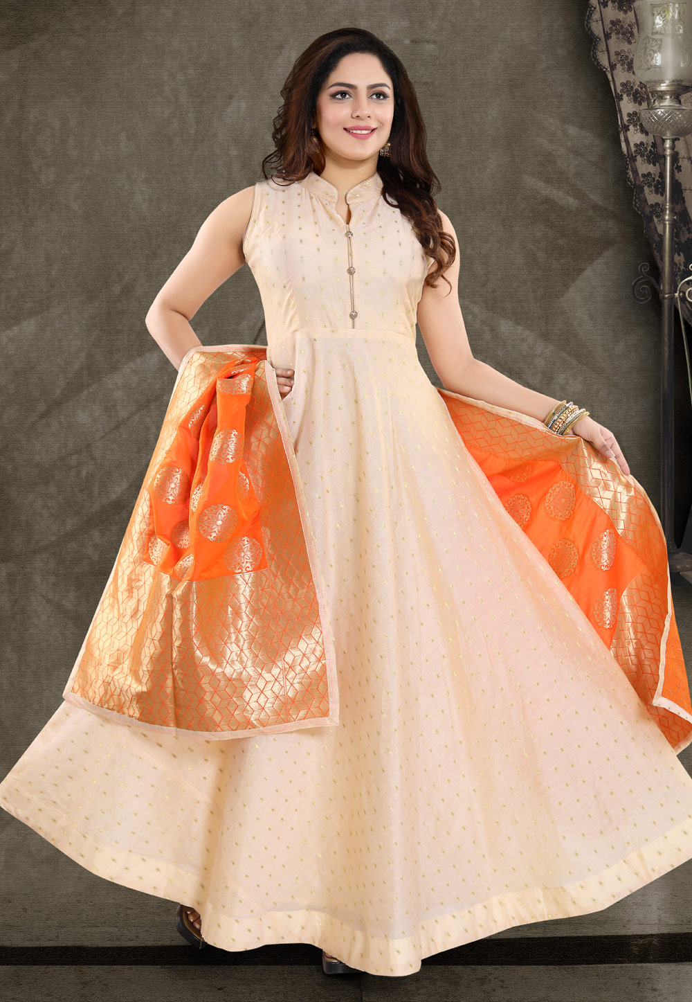 Beige Banglori Silk Readymade Ankle Length Anarkali Suit 178037