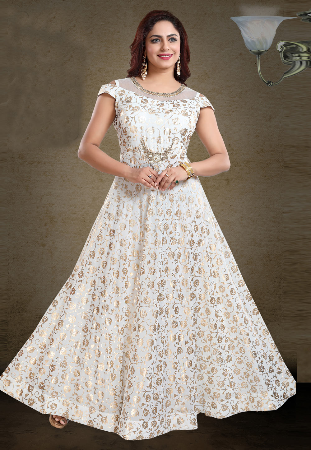Off White Faux Georgette Party Wear Gown 219356