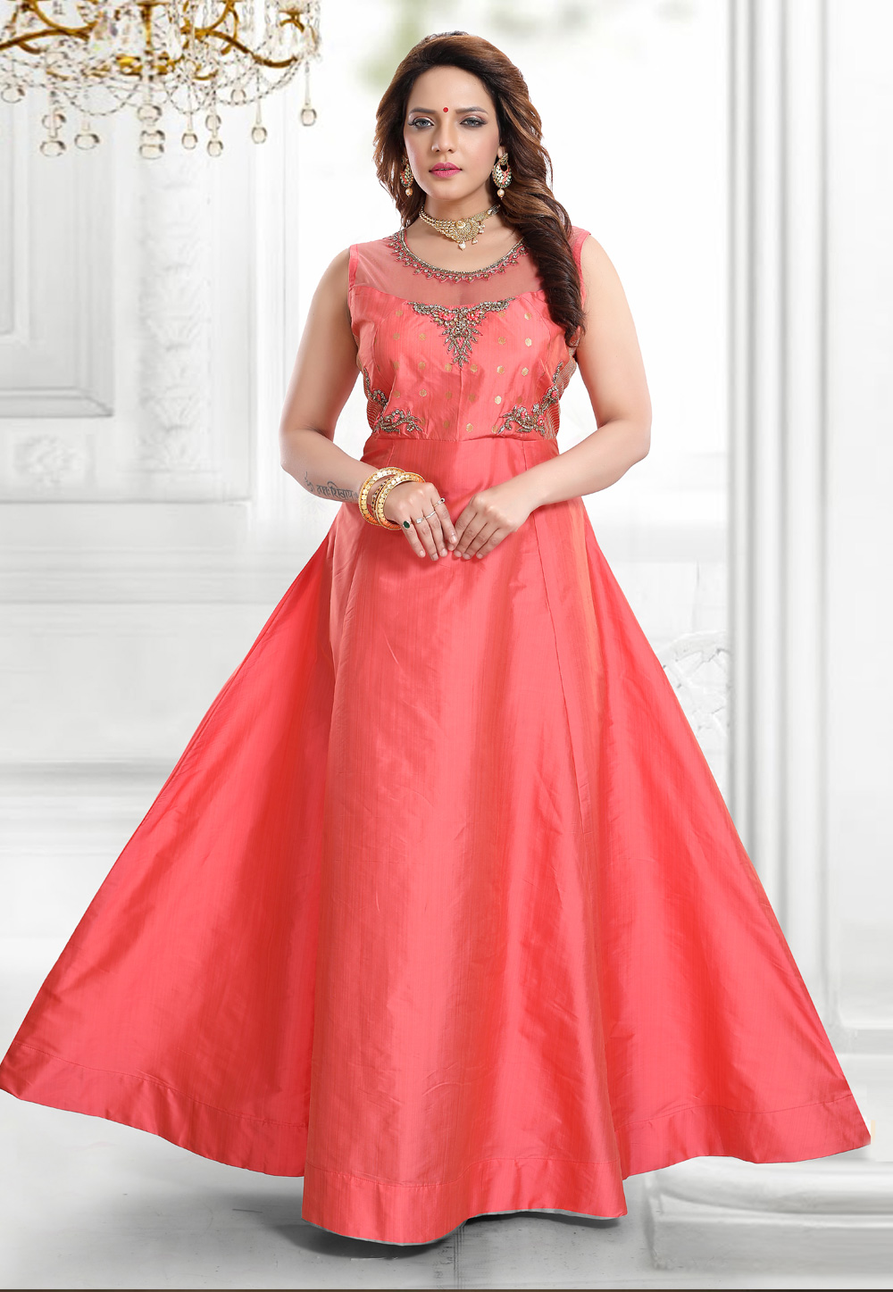 Pink Silk Party Wear Flared Gown 219359