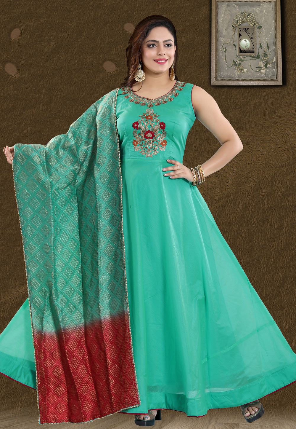Turquoise Chanderi Readymade Ankle Length Anarkali Suit 168075