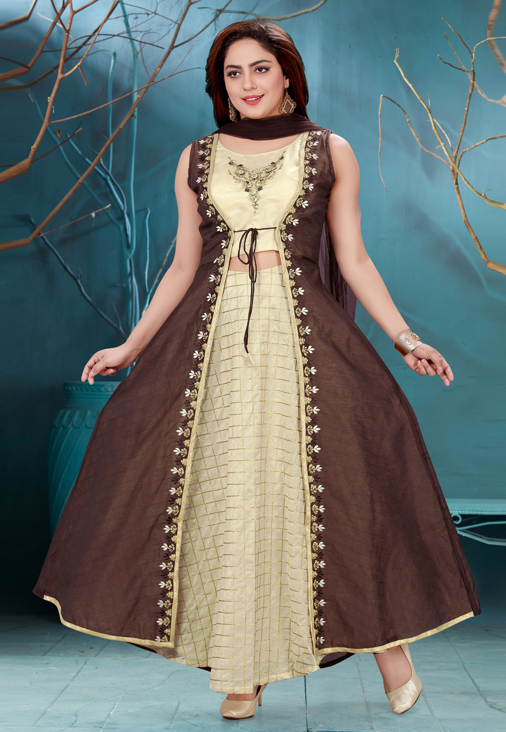 Brown Chanderi Readymade Abaya Style Anarkali Suit 168093