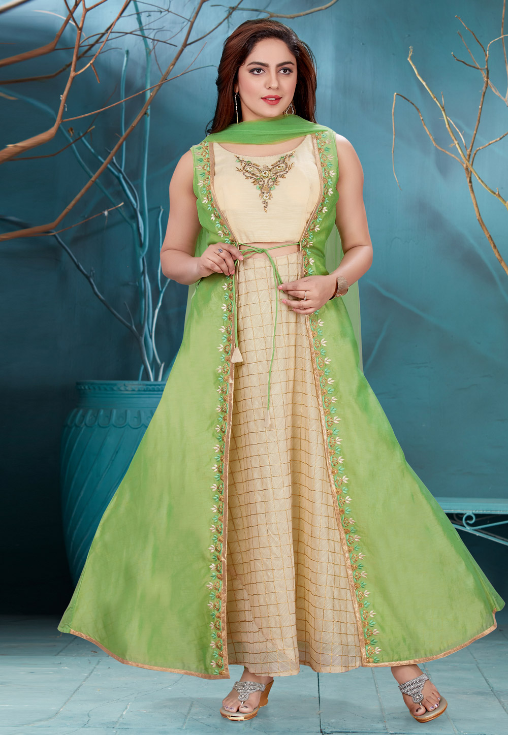 Green Chanderi Readymade Ankle Length Anarkali Suit 168095