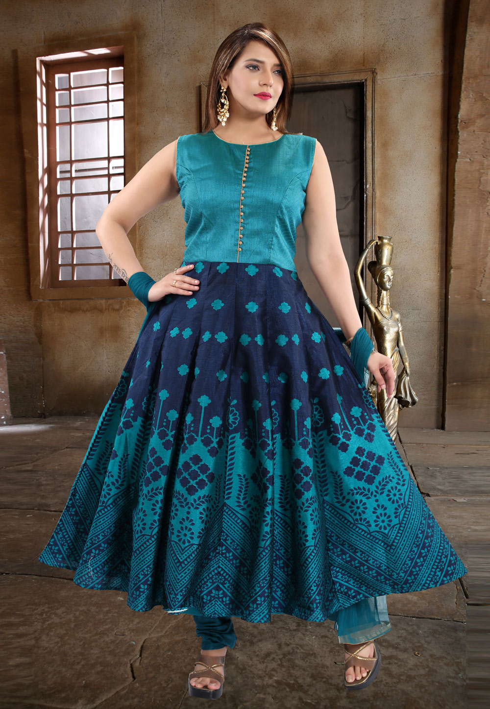 Turquoise Blue Banglori Silk Readymade Anarkali Suit 196235
