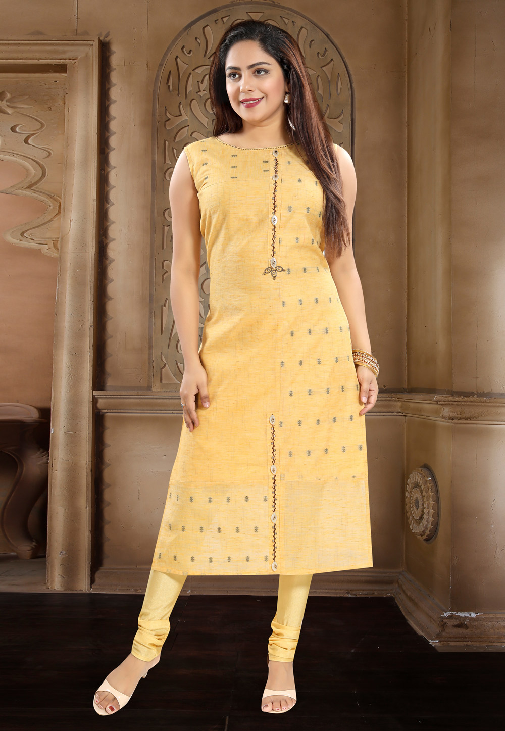 Yellow Cotton Readymade Kurti 156176