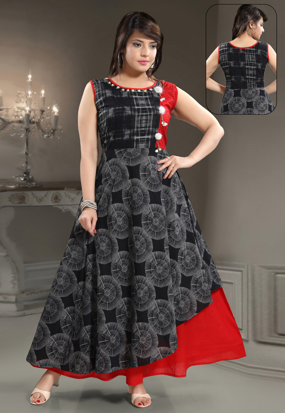 Black Rayon Readymade Gown 156178