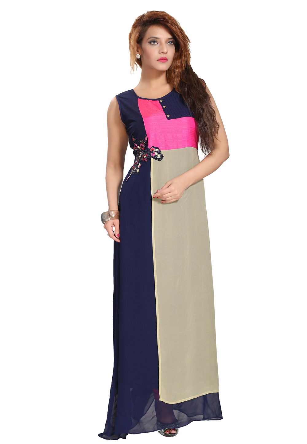 Navy Blue Georgette Readymade Gown 156193