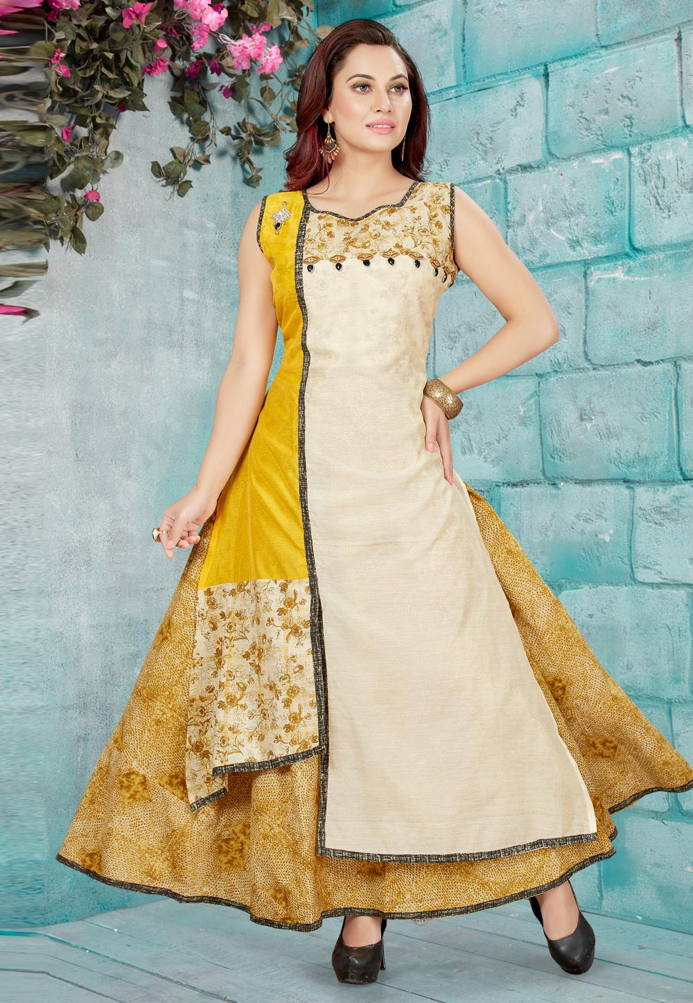 Beige Chanderi Silk Readymade Long Kurti 156199