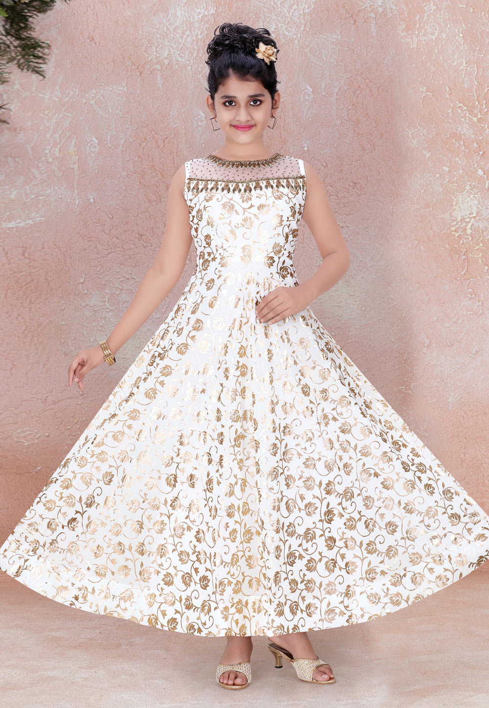 Off White Faux Georgette Readymade Kids Gown 195451