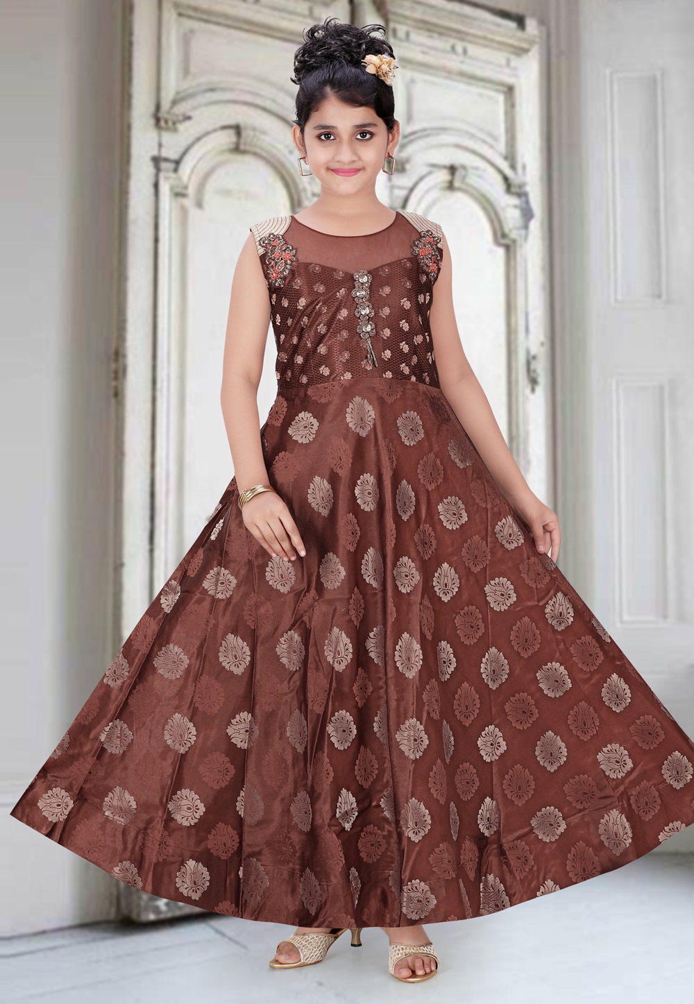 Brown Brocade Readymade Kids Gown 195454