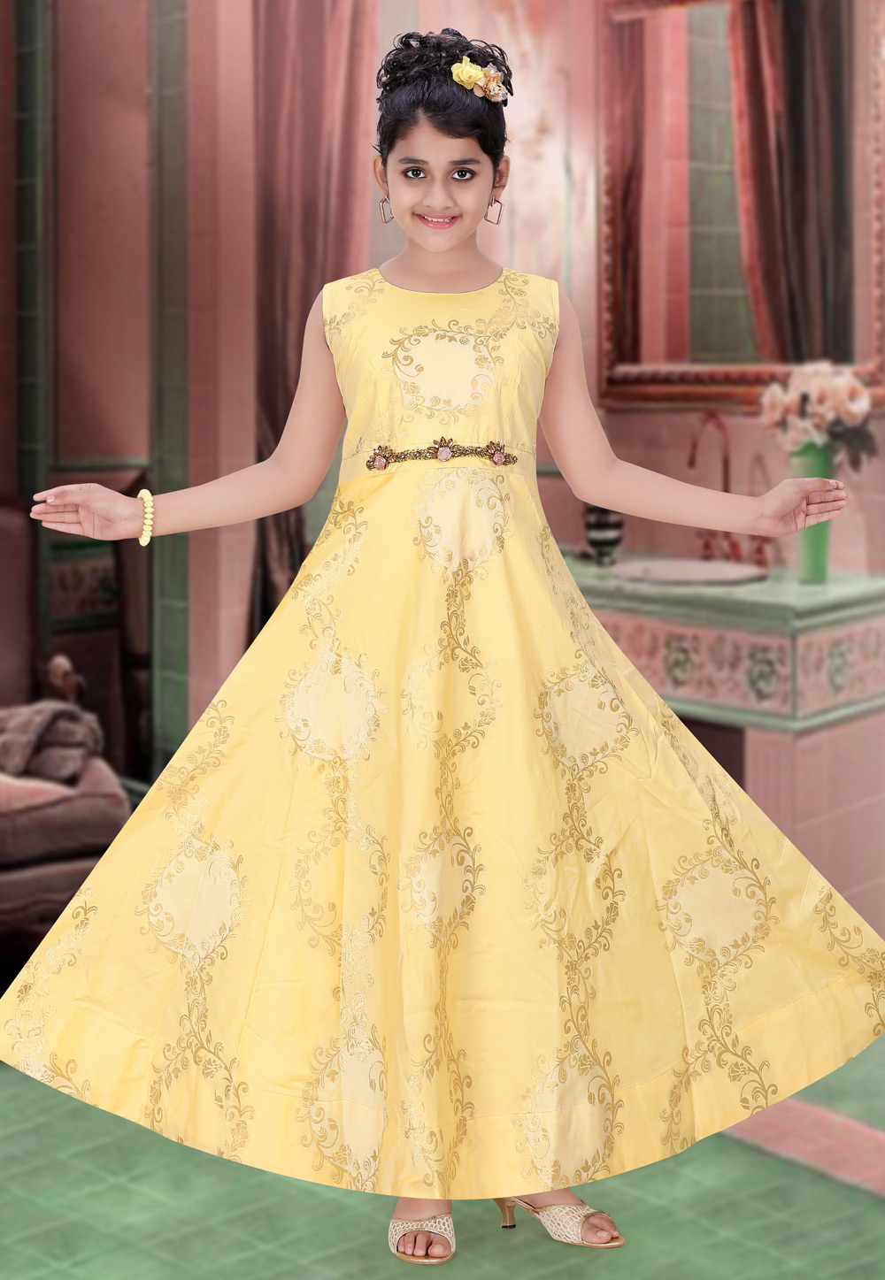 Yellow Brocade Readymade Kids Gown 195458