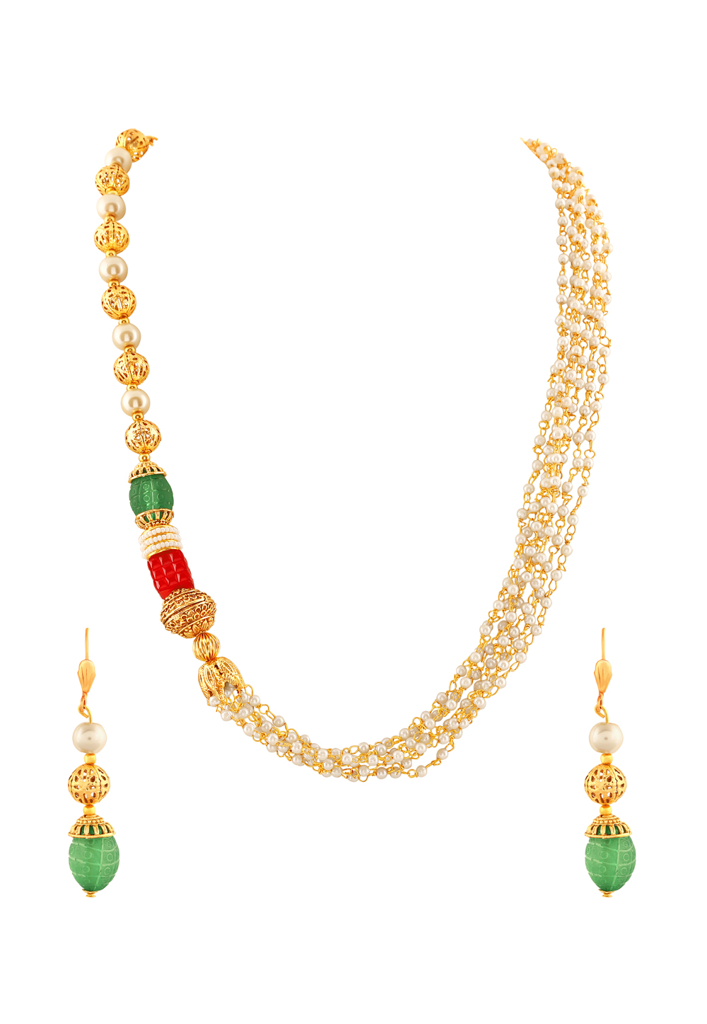 Green Zinc Necklace Set With Earrings 191685