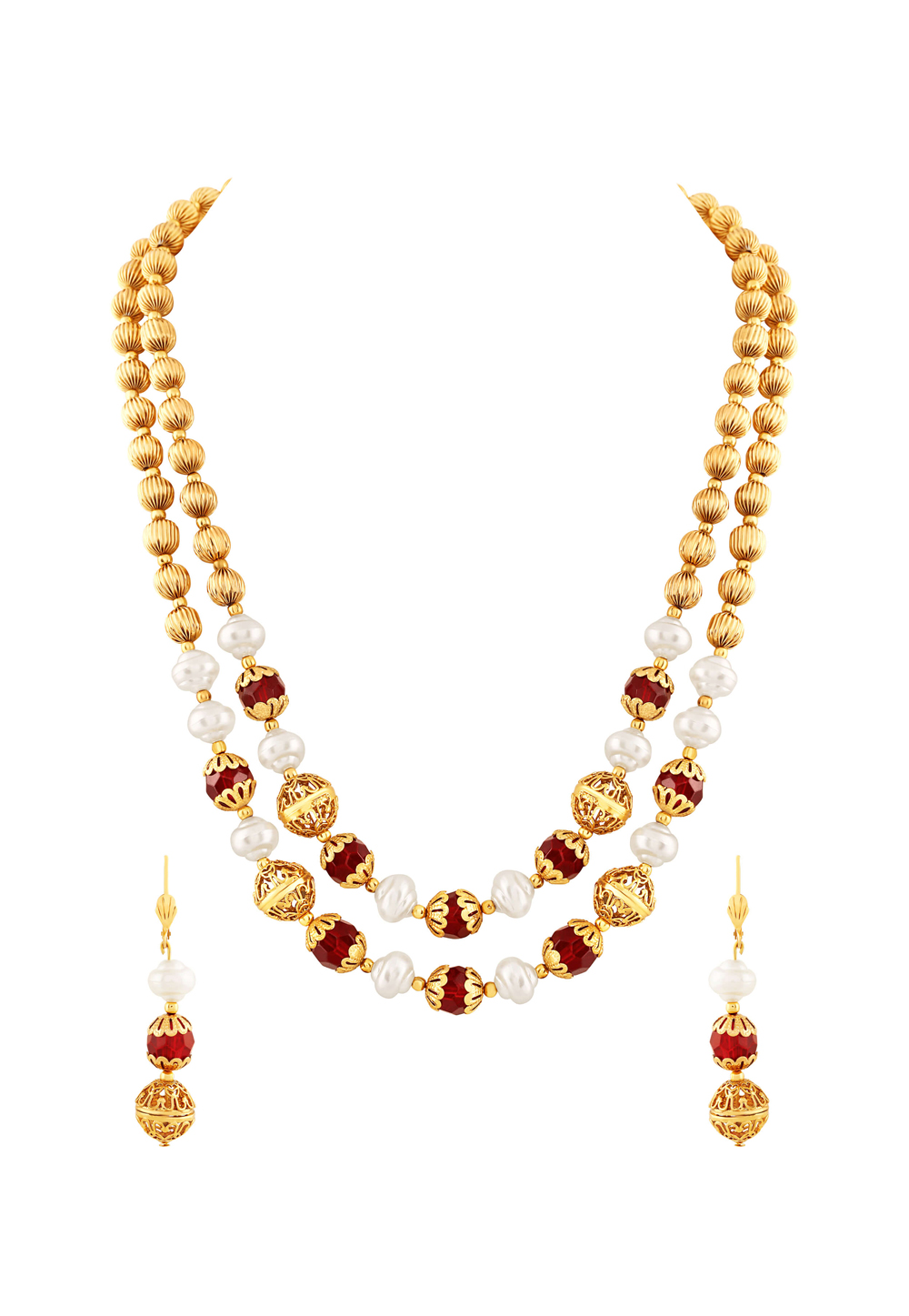 Maroon Zinc Necklace Set With Earrings 191688