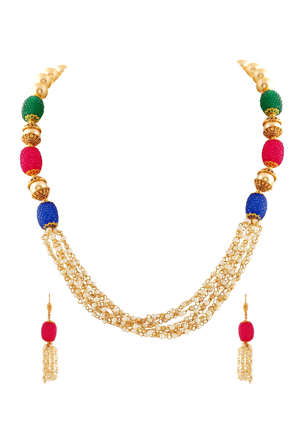 Blue Zinc Necklace Set With Earrings 191689