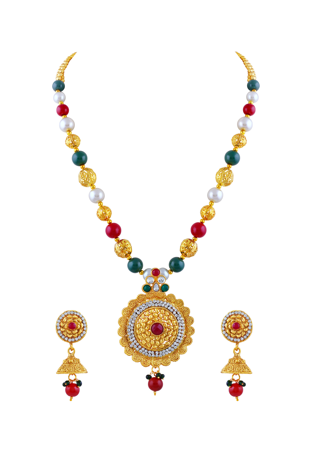 Maroon Zinc Necklace Set With Earrings 191690