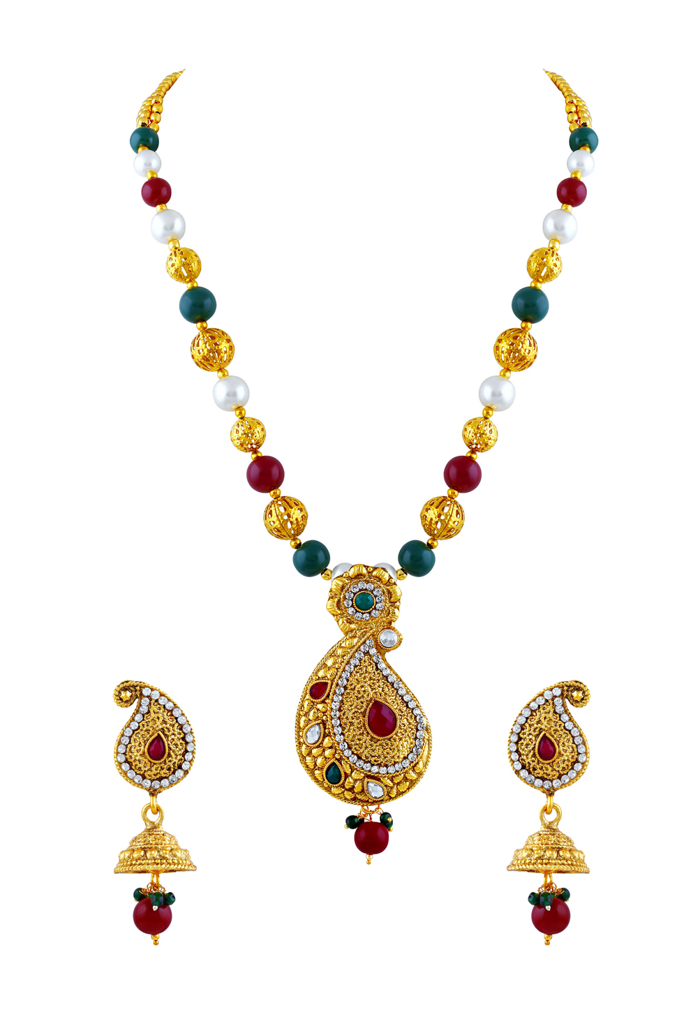 Green Zinc Necklace Set With Earrings 191692