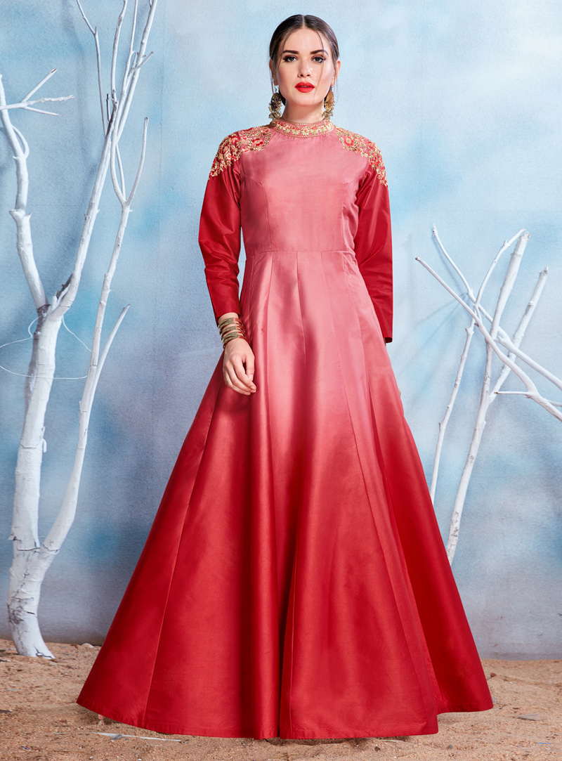 Red Satin Readymade Gown 131463