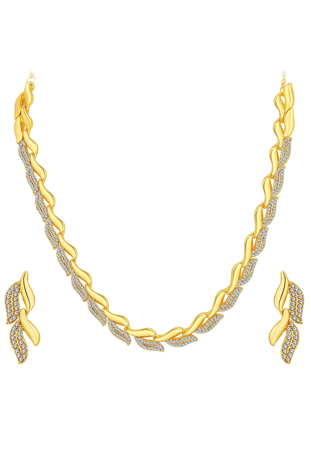 Golden Zinc Necklace Set With Earrings 191699