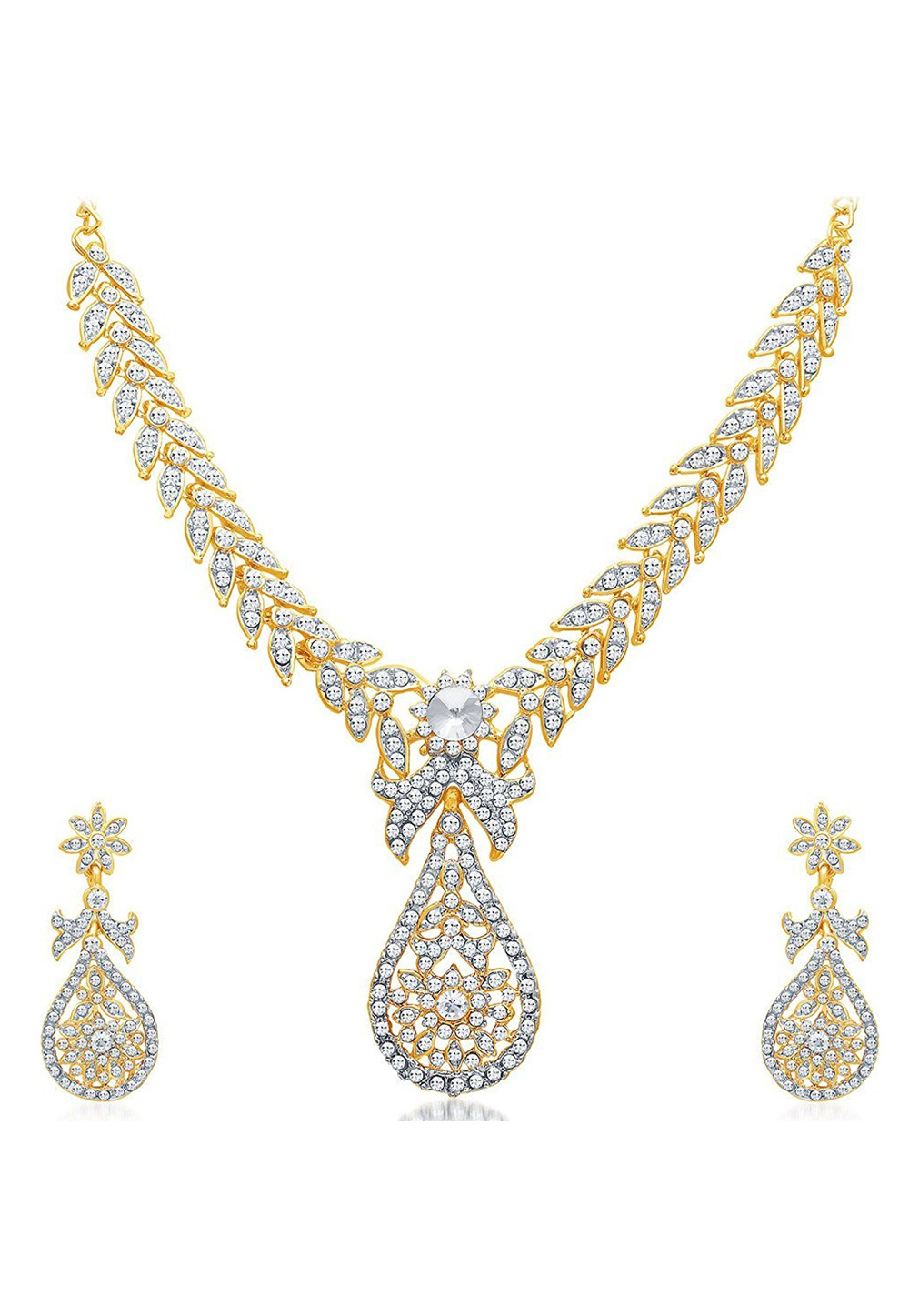 Golden Zinc Necklace Set With Earrings 191700