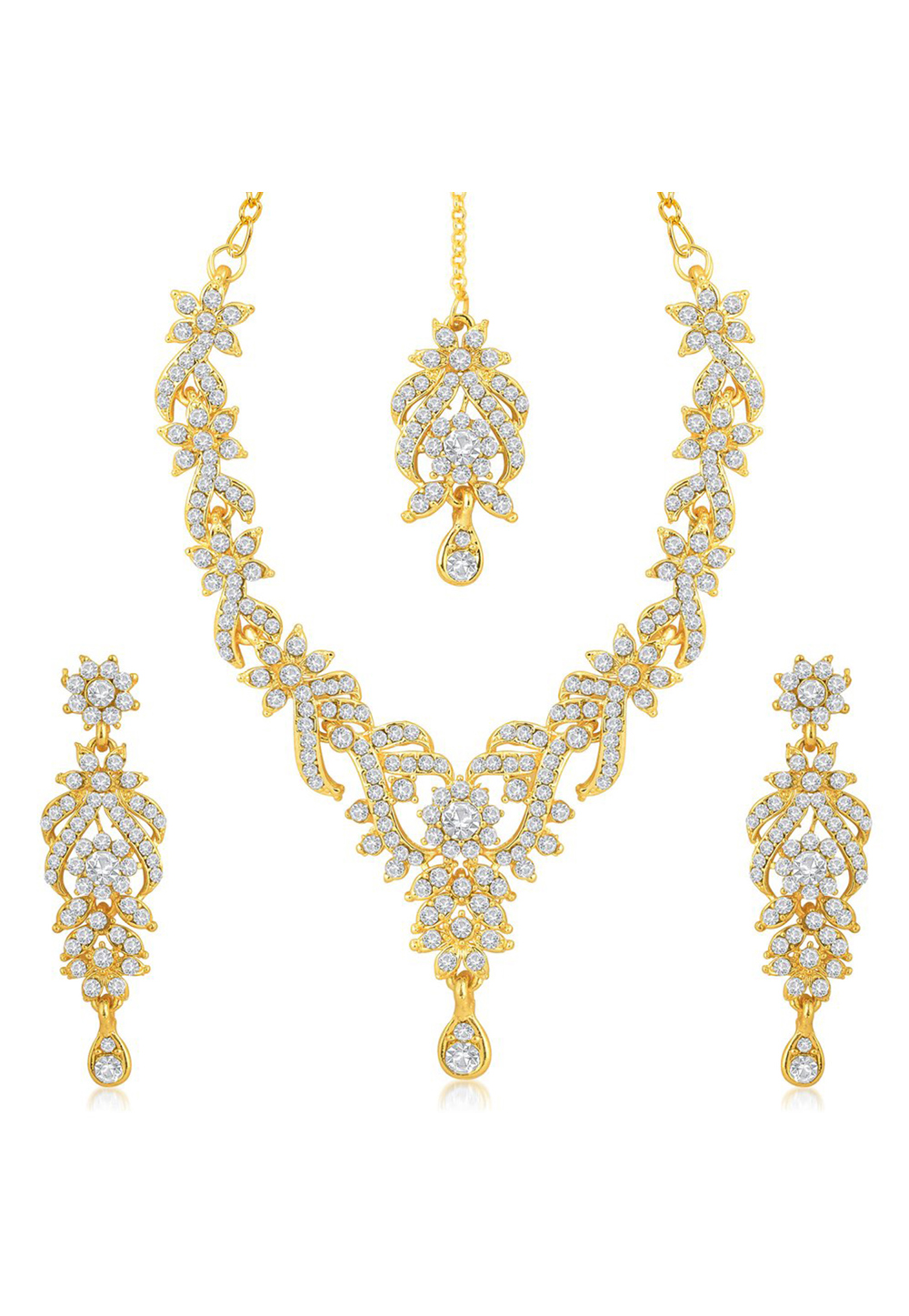 Golden Zinc Necklace Set With Earrings and Maang Tikka 191701