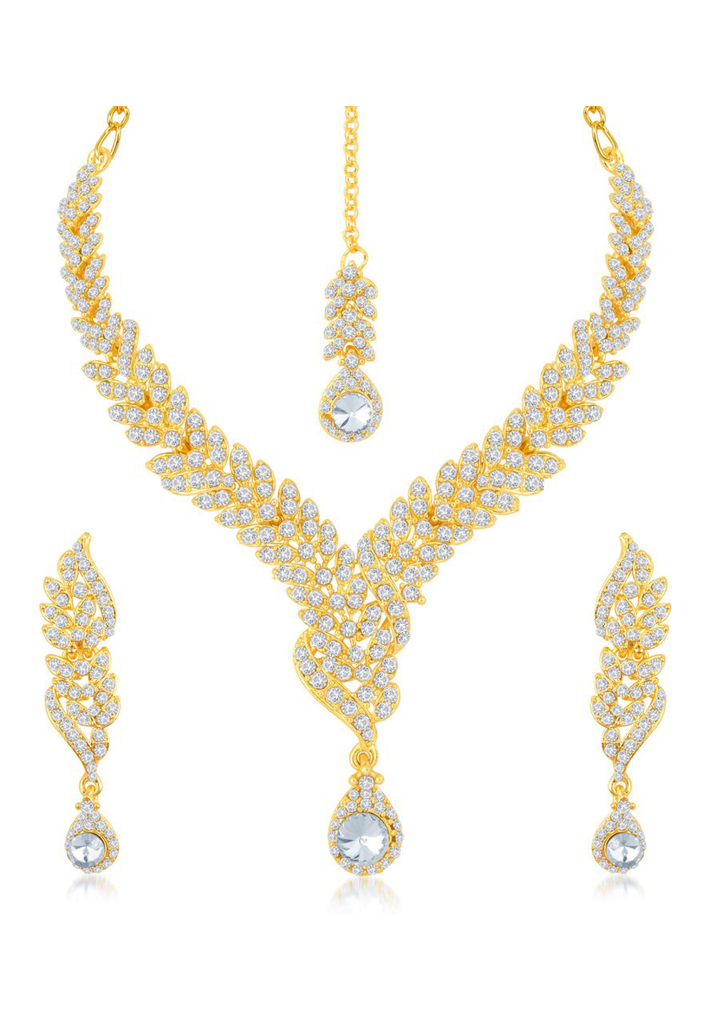 Golden Zinc Necklace Set With Earrings and Maang Tikka 191702