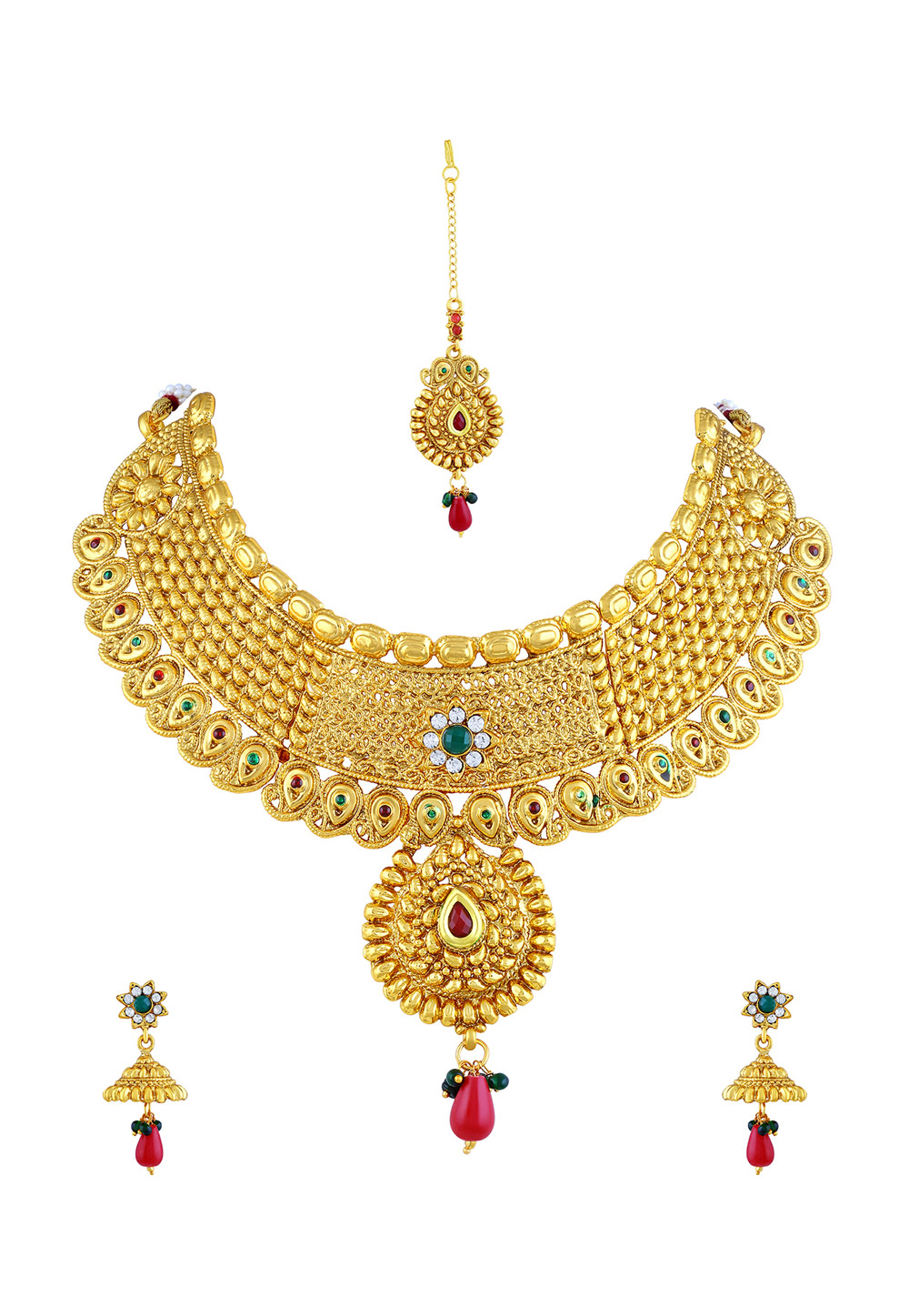 Golden Zinc Necklace Set With Earrings and Maang Tikka 191704