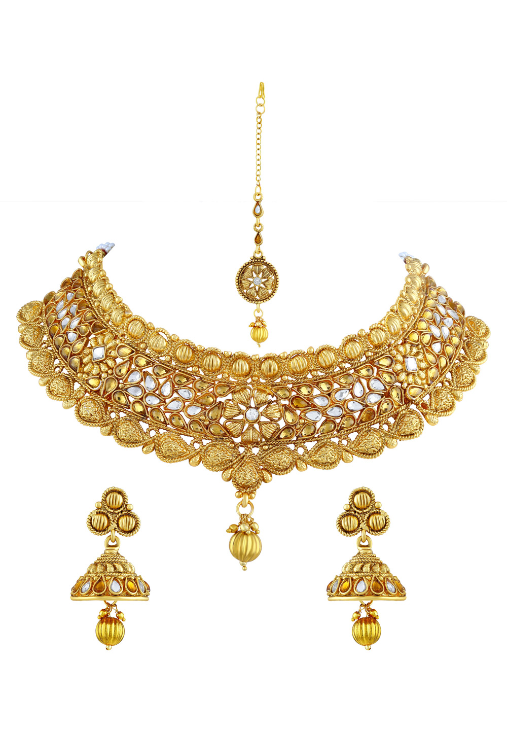 Golden Zinc Necklace Set With Earrings and Maang Tikka 191706