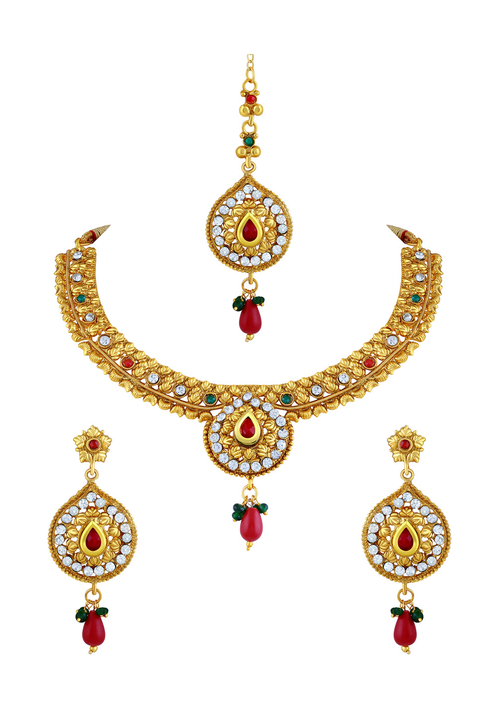 Maroon Zinc Necklace Set With Earrings and Maang Tikka 191707