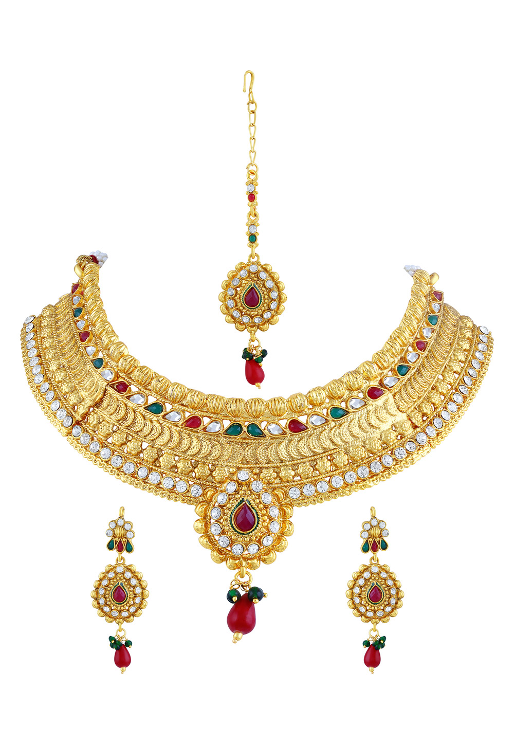 Maroon Zinc Necklace Set With Earrings and Maang Tikka 191710