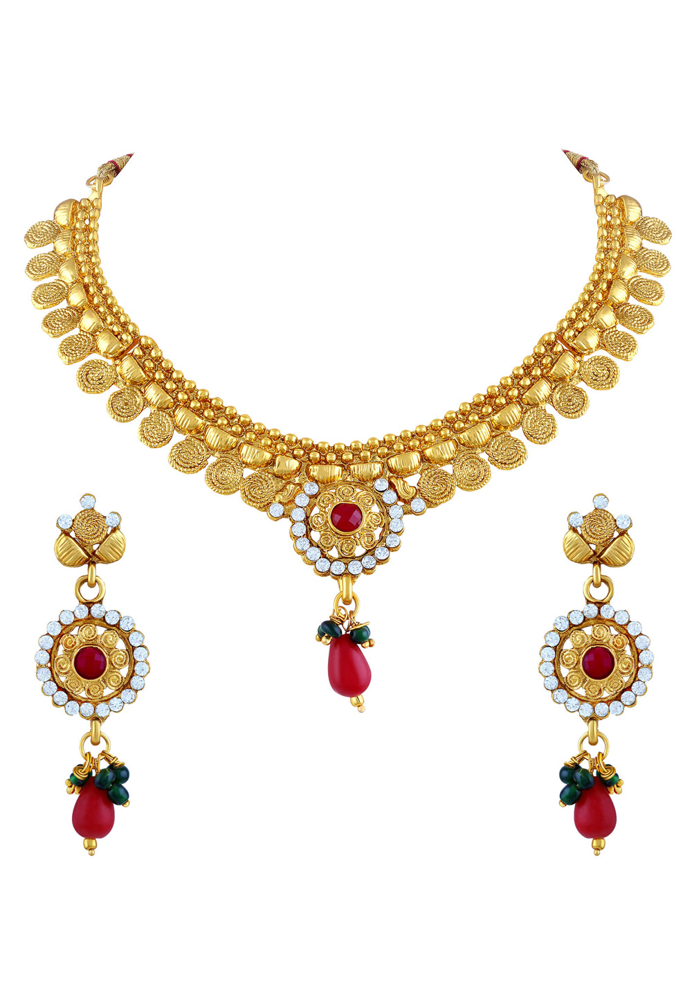 Maroon Zinc Necklace Set With Earrings 191711
