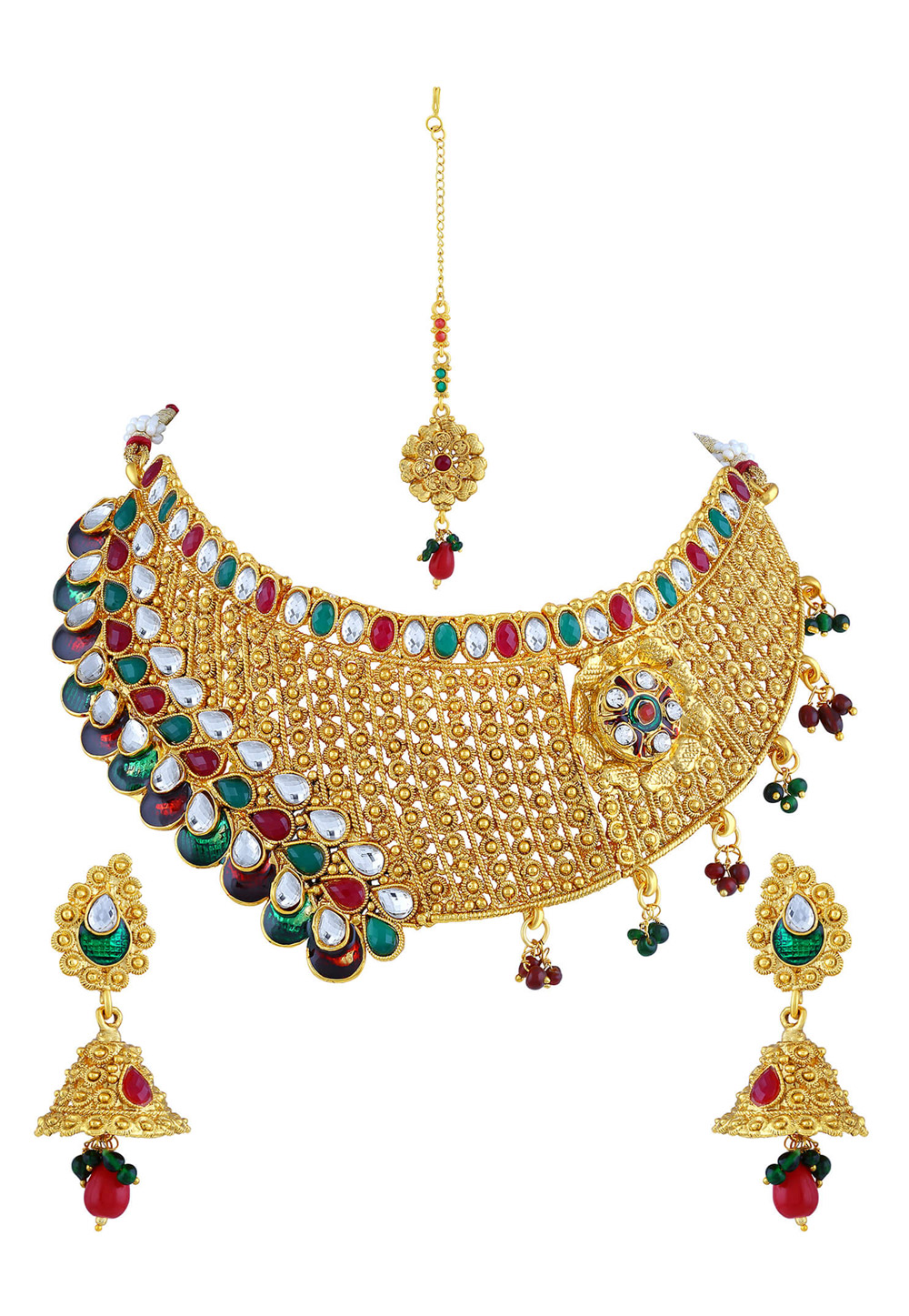 Green Zinc Necklace Set With Earrings and Maang Tikka 191712