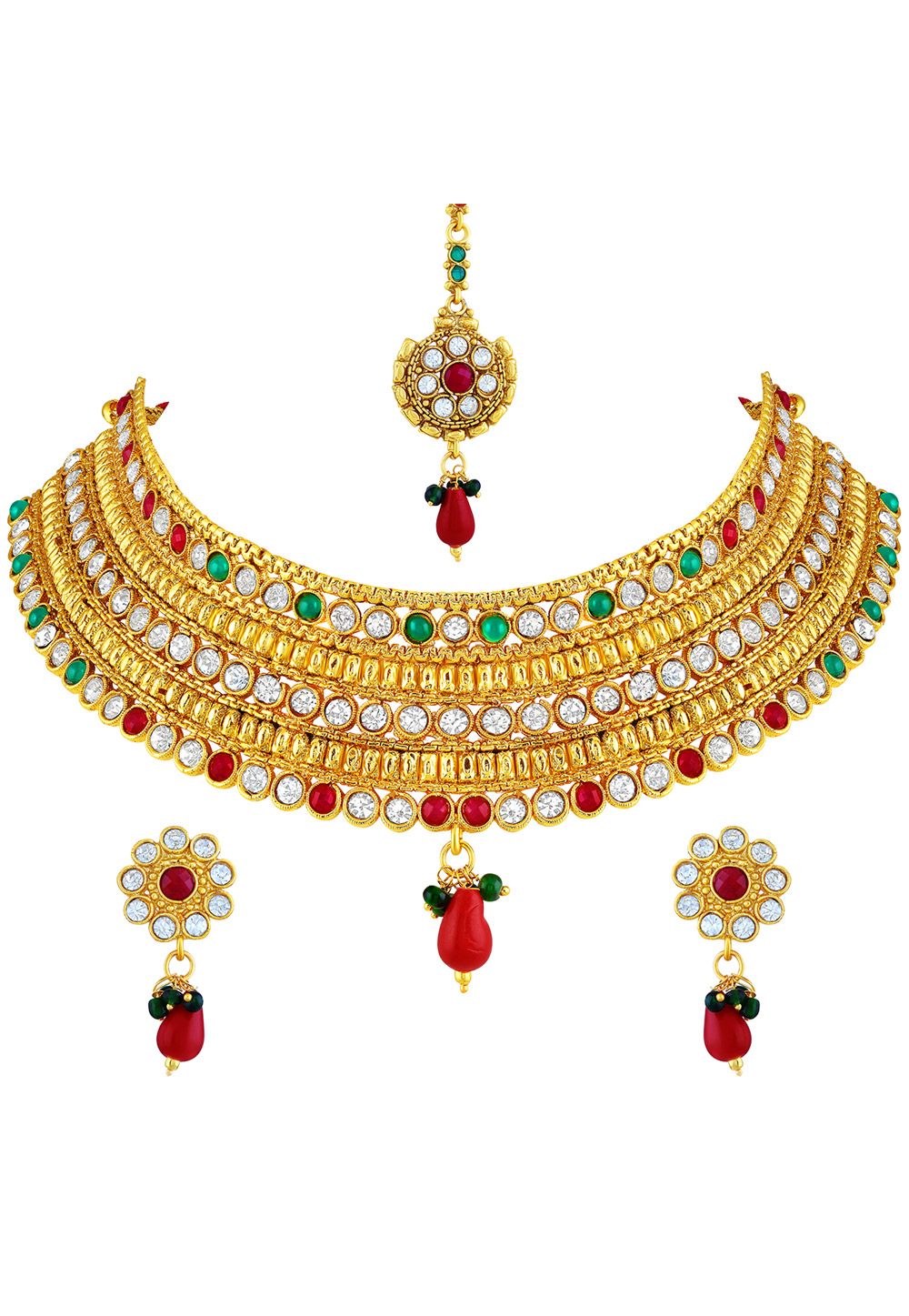 Maroon Zinc Necklace Set With Earrings and Maang Tikka 191713