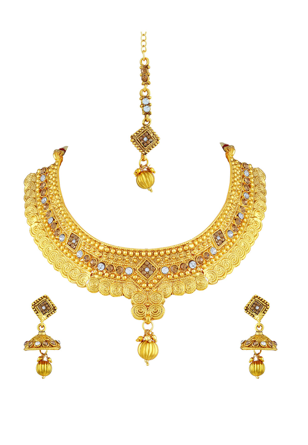 Golden Zinc Necklace Set With Earrings and Maang Tikka 191716