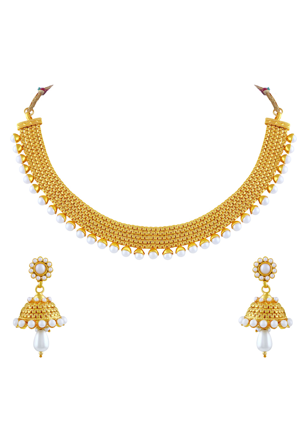 Golden Zinc Necklace Set With Earrings 191718